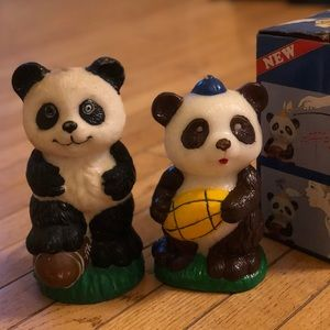 Vintage Panda Candle Set of 3 - never used!